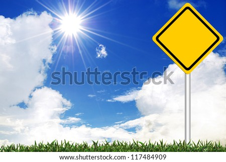 Blank  Yellow road warning sign on sky background - stock photo