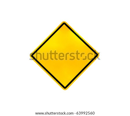 Blank yellow road warning sign (with clipping path) - stock photo