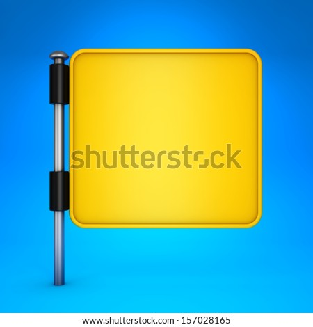 Blank Yellow Square Display on Blue Background. - stock photo