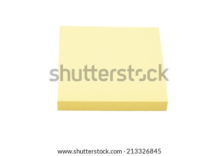 Blank yellow sticky note block isolated on white background
