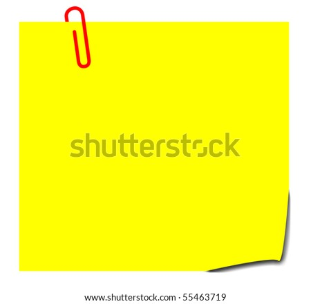 Blank yellow sticky note with paperclip, isolated on white background. - stock photo