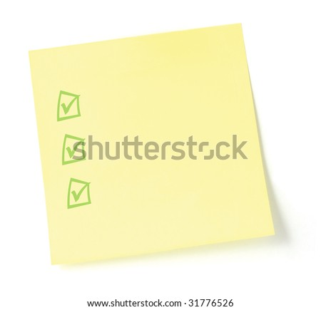Blank Yellow To-Do List Sticky note isolated sticker checklist, checkbox tickbox - stock photo
