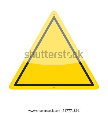 Blank yellow triangular warning traffic sign - stock photo