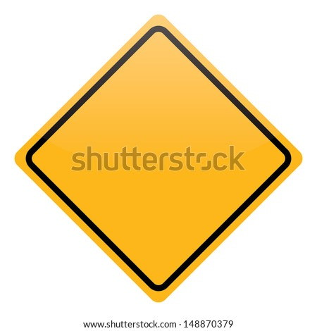blank yellow warning sign isolated - stock photo