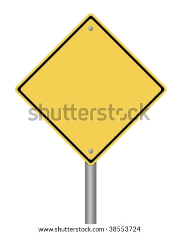 blank yellow warning sign on white background - stock photo