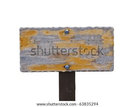 Blanked out worn wooden hiking trail sign. - stock photo