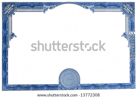 Blanked Stock Certificate. - stock photo