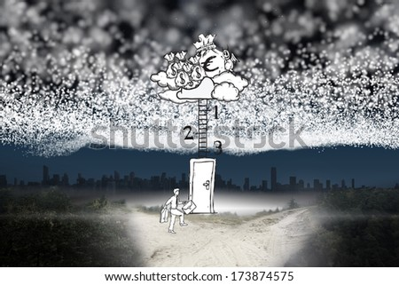 Blanket of stars above path leading to city against blanket of stars above path leading to city - stock photo