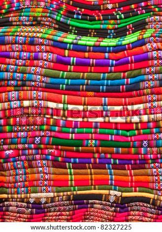 Blankets for Sale in Sagarnaga street, La Paz, Bolivia - stock photo
