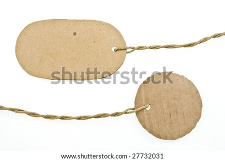 Blanks cardboard tags isolated on white - stock photo