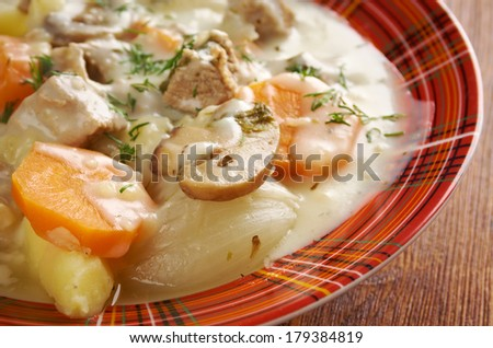 Blanquette de veau -  is a French veal ragout.farm-style - stock photo