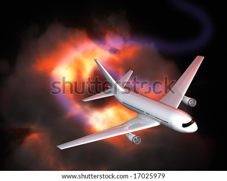 Blast and plane on black background - stock photo