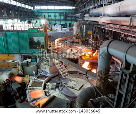 Blast furnace at metallurgical plant - stock photo