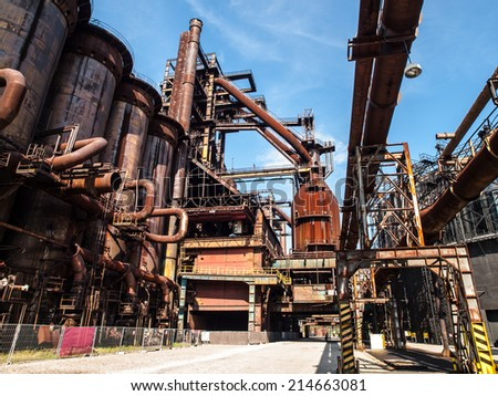 Blast furnace in metallurgical area of Dolni Vitkovice (Ostrava, Czech Republic) - stock photo