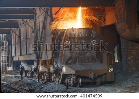 Blast furnace smelting liquid steel in steel mills - stock photo