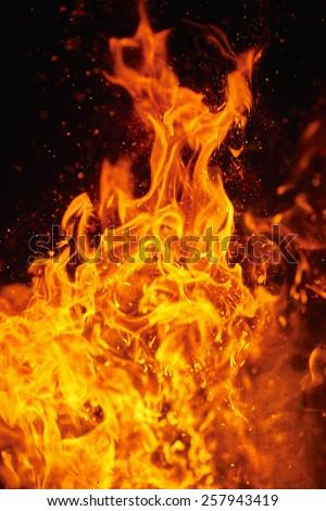 Blazing fire - stock photo