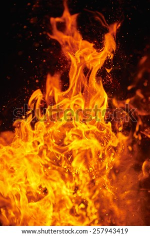 Blazing fire and flames - stock photo