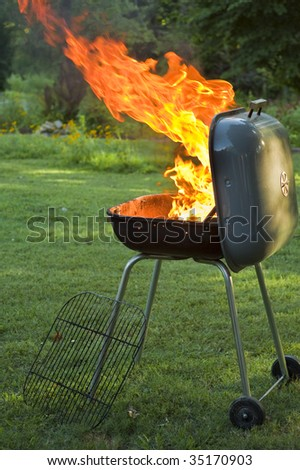 Blazing Fire in Grill - stock photo