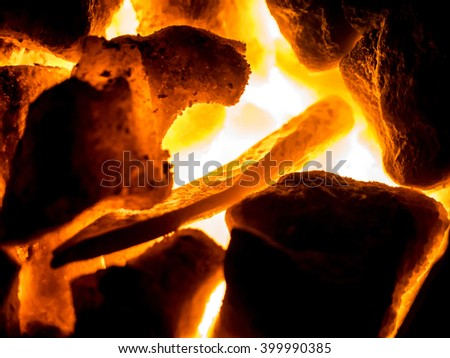 Blazing furnace with burning coal at the blacksmith's