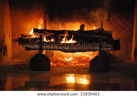 Blazing Open Hearth Log Fire in the middle of  Winter