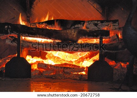 Blazing open log fire in winter