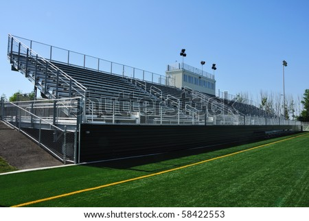 Bleachers of American High School Football Stadium - stock photo