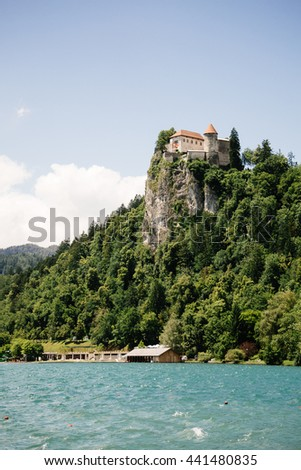 Bled Castle built on top of a cliff overlooking lake Bled, located in Bled, Slovenia. - stock photo
