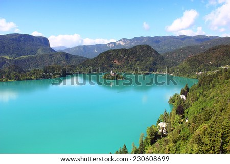 Bled lake and Assumption of Mary Pilgrimage Church, Slovenia - stock photo