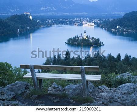 Bled Lake in Julian Alps, Slovenia - stock photo
