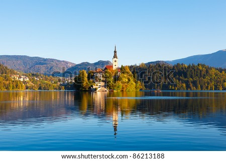 Bled Lake in Slovenia with the Assumption of Mary Church - stock photo