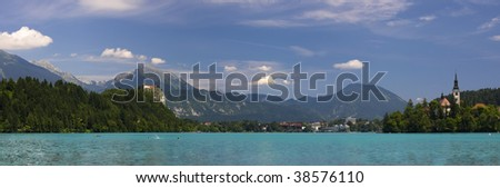 Bled lake, island, castle, church and mountains in background,Triglav, Slovenia, Europe - stock photo