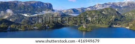 Bled, Slovenia - panorama - stock photo