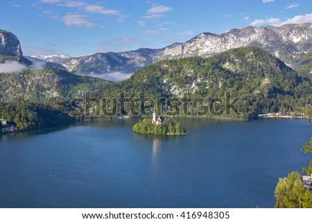 Bled, Slovenia - small church on the island - stock photo