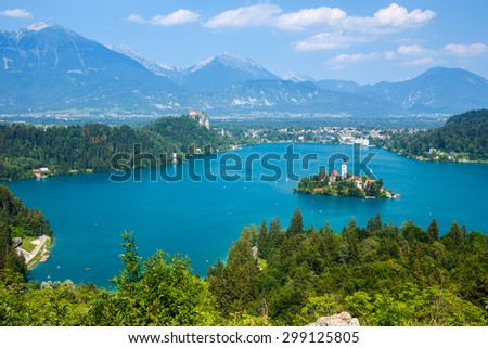 Bled with lake in summer, Slovenia, Europe - stock photo