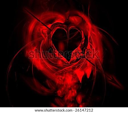 Bleeding heart hit by an arrow - stock photo