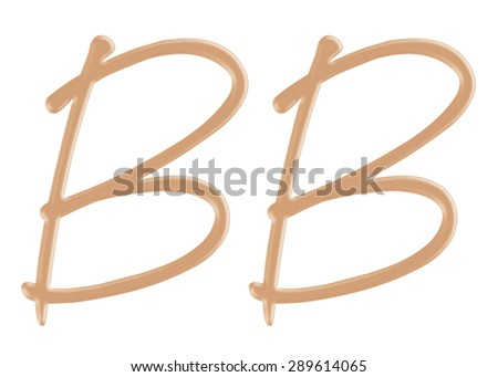Blemish balm cream foundation in BB character style on isolated background. - stock photo
