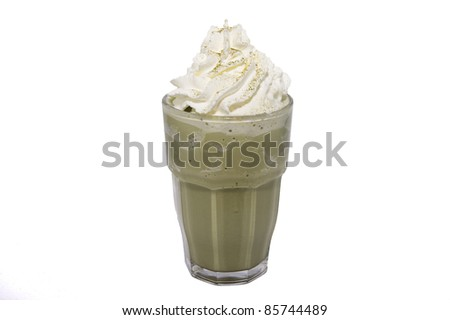 blended green tea coffee on white backgrounds - stock photo