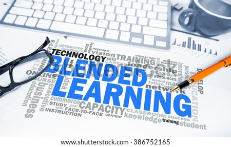 blended learning word cloud on office scene