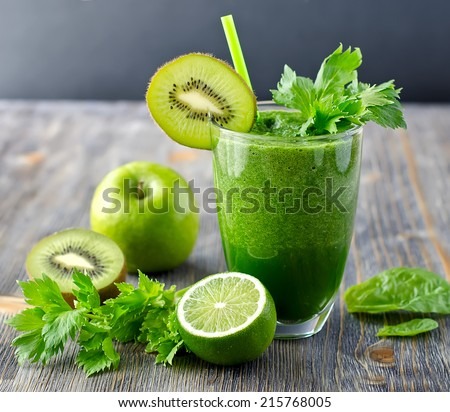 Blended smoothie with ingredients selective focus square image - stock photo