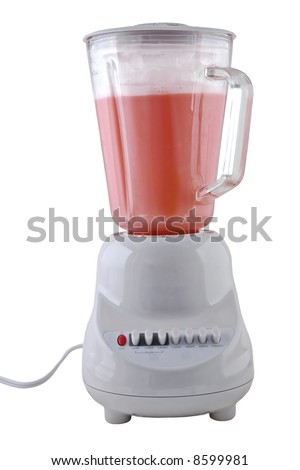 Blender with a foamy drink inside isolated on a white background