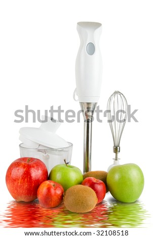 Blender with different ripe fruits with reflection on white background - stock photo