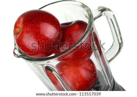 Blender with red apple isolated on white - stock photo