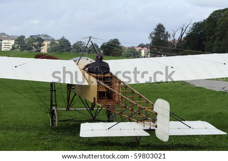 Bleriot XI before taking off - stock photo