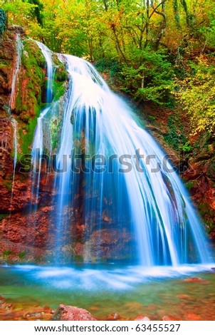 blessed autumn waterfall - stock photo