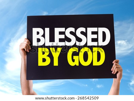 Blessed By God card with sky background - stock photo