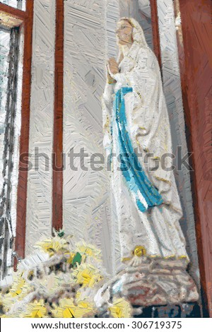 Blessed Virgin Mary Sculpture At Church ,Color oil Painting illustration,Vertical - stock photo