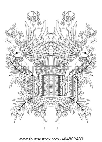 blessing bird adult coloring page with floral elements - stock photo