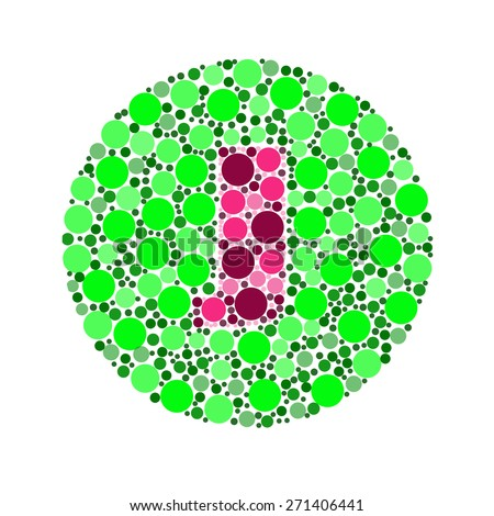 Blind colour test, Ishihara Test. daltonism,color blindness disease. perception test in letter J - stock photo