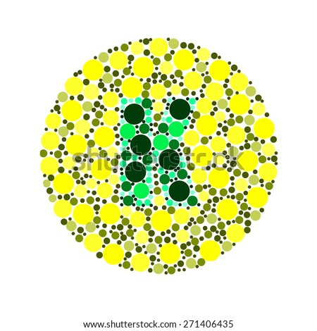 Blind colour test, Ishihara Test. daltonism,color blindness disease. perception test in letter K - stock photo