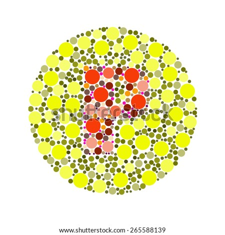 Blind colour test, Ishihara Test. daltonism,color blindness disease. perception test in letter P - stock photo